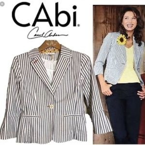 CAbi Nautical Ticking Blue & White Striped Blazer